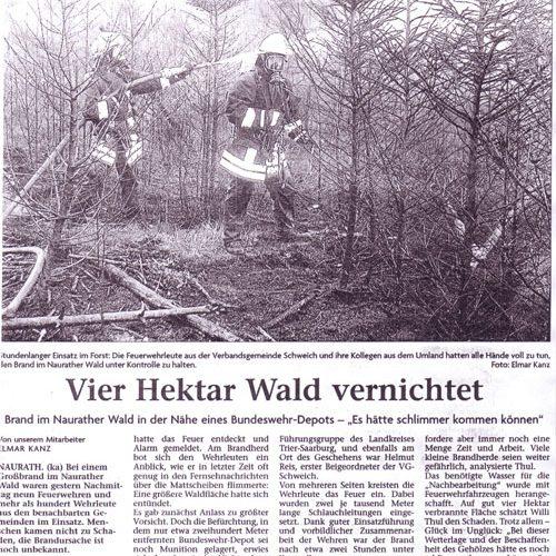Waldbrand Naurath